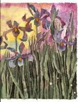 Batik - Dancing Iris - Water Color And Wax