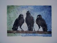Batik - Three Old Crows - Water Color And Wax
