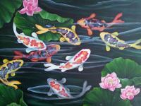 Exotic Koi Fishes - Oil Painting Paintings - By Bhavna Bachkaniwala, Exotic Painting Artist