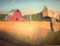 Landscape - Mailbox And Barn - Pastel