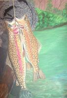 Fish - Trout On Log - Pastel