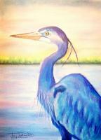 Birds - Blue Herron - Pastel