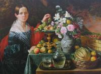 Oil Painting Reproductions - Portrait Of An Unknown Woman With Fruit - Oil On Canvas