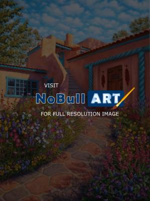 Southwest - Taos Courtyard Garden - Oil