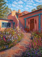 Taos Courtyard Garden - Oil Paintings - By Johanna Girard, Impressionism Painting Artist