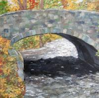 Meadows Road Bridge Over Paulins Kill - Oil On Canvas Paintings - By Tom Schek, Impressionist Painting Artist