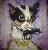 Portraits - Dog Playing With His Friend - Acrylics