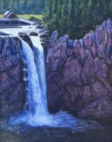 Northwest - Snoqualmie Falls - Sold - Watercolor Acrylic Paper Colla