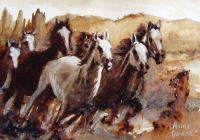 Horses - Wild Horses - Sold - Mixed Media