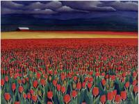Northwest - Tulips And Rainclouds - Sold - Watercolor