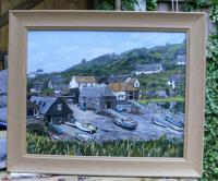 Cadgewith Harbour Cornwall - Acrylic Paintings - By Rosemary Miller, Landscape Painting Artist