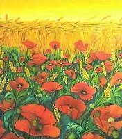Oil Paintings - Field Poppies - Oil On Canvas