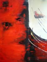 Abstract - Light To Dark Or The Red Face - Oil On Canvas