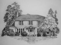 Athens Georgia Residence - Pen And Ink Drawings - By Richard Smith, Black And White Drawing Artist