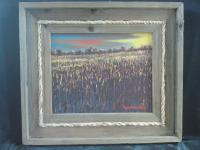 Landscape - Cornfield - Oil On Canvas