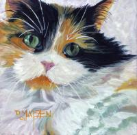 Cat 3 - Oil On Board Paintings - By D Matzen, Representational Painting Artist