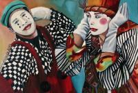Bohemian Chaos - Clowns - Oil On Canvas