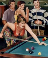 Girls - Billiard Saloon - Oil On Canvas