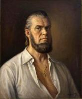 Self Portrat In White Shirt - Oil On Canvas Paintings - By Dionisii Donchev, Classic Painting Artist