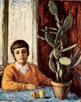Portraits - Boy With A Cactus - Oil On Canvas
