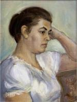 Portraits - Woman In White Blouse - Oil On Canvas