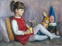 Portraits - Child With Toys - Oil On Canvas