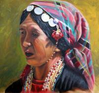 Portraits - Akha Woman--Dressed For Christmas - Oil