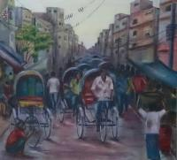 Rickshaws - A Busy Day - Acrylic
