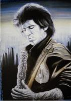 Keith Richards - Pastel  Gouache Paintings - By Stevie Wood, Portraiture Painting Artist