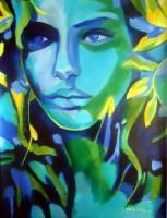 Colorful Energy - Lady Blue - Sold - Acrylic On Canvas