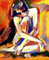 Colorful Energy - Seated Lady - Sold - Acrylic On Canvas