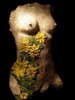 Nude Girl Life Size Torso With Flowers - Bronse Patina On Indoor Castin Sculptures - By Cirilo Cirilo, Classical Modern Sculpture Artist
