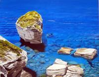 The Grain Of Sand Cliffs Of Bonifacio In Corsica - Oil On Canvas Paintings - By Martin Alain, Figurative Painting Painting Artist