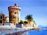 Miomo Genovese Tower In Corsica - Oil On Canvas Paintings - By Martin Alain, Figurative Painting Painting Artist