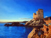 Seascape - Sunset On The Genovese Tower Of Erbalunga In Corsica - Oil On Canvas