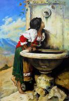 Figures - Roman Peasant Girl Drinking From The Fountain - Oil On Canvas