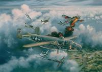 Limited Edition Prints - Shoot-Out Over Saigon B-25J-11 Nasty Nancy - Oil On Canvas