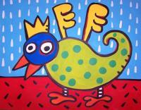 Jelene Pop-Toons - Large 22 X 28 Acrylic Bird On Paper In Green Frame - Paper