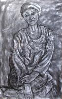 Model - A Woman On The Floor - Charcoal On Paper