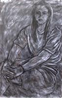 Model - Relaxed Woman - Charcoal On Paper