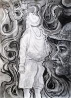 Drawings - Gazing - Charcoal On Paper