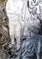 Drawings - Holding A Noken - Charcoal On Paper
