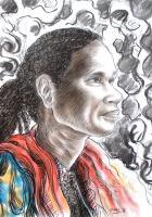Papuan Figures - A Woman With A Ponytail - Mixed Media On Paper
