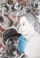 Drawings - Me And My Kid - Mixed Media On Paper