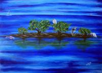 Lagoon And Ocean Life - Bahia Honda The Keys - Acrylic On Canvas Board