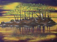 Lagoon And Ocean Life - Lagoon At Sunrise - Acrylic On Canvas Board