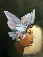 Butterfly Lady - Acrylic On Canvas Paintings - By Sue Lamarr Kramer, Realistic Painting Artist