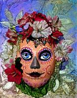 Masks - Day Of The Dead  Lady - Cellulose Feathers Beads Textu