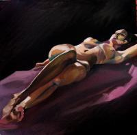 Figures - Reclining Nude On Violet - Oil On Canvas