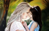The Best Girlfriends - Oil On Canvas Paintings - By Oleg Zubkov, Realism Painting Artist